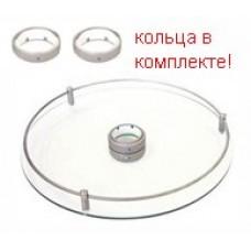 Полка центральная стекло для барной стойки D=350, матовый хром