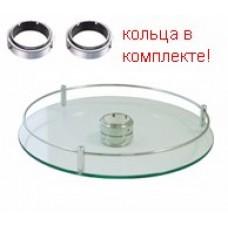 Полка стекло центральная для барной стойки D=350, хром глянец