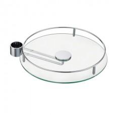 Полка боковая стекло D=350 мм для барной стойки, хром глянец
