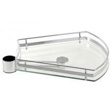 Полка стеклянная трапецевидная для барной стойки, хром глянец