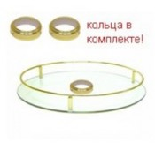 Полка стекло центральная D=350 для барной стойки, золото