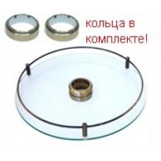 Полка стекло центральная для барной стойки D=350 мм, античная бронза