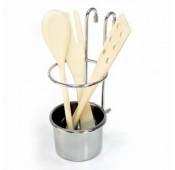 Стакан для кухонных принадлежностей на рейлинги, хром глянец