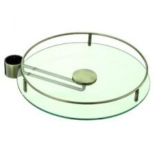 Полка стекло боковая D=350 мм для барной стойки, античная бронза