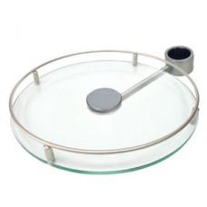 Полка боковая стекло для барной стойки D=350, матовый хром