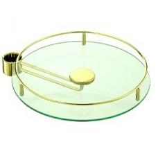 Полка стекло с боковым креплением D=350 для барной стойки, золото