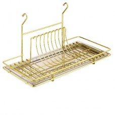 Сушка для посуды на рейлинг с поддоном, золото