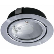 Светильник врезной матовый хром с лампочкой 12V
